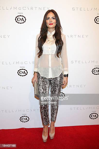 Former Miss Universe 2010 Ximena Navarrete attends the Stella McCartney CA collection launch at Ex Convento De San Hipolito on October 18 2012 in...