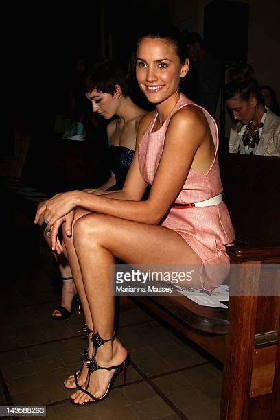 Former Miss Universe Australia Rachael Finch arrives for the Manning Cartell show on day one of MercedesBenz Fashion Week Australia Spring/Summer...