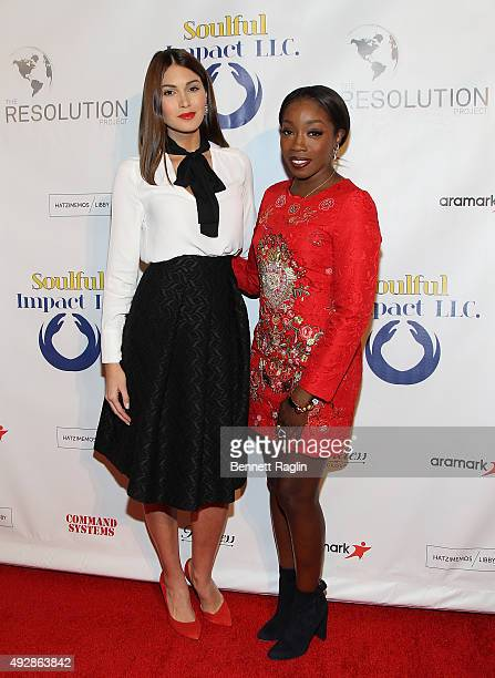 Former Miss Universe Gabriela Isler and recording artist Estelle attend The Resolution Project's Resolve 2015 Gala at The Harvard Club on October 15...