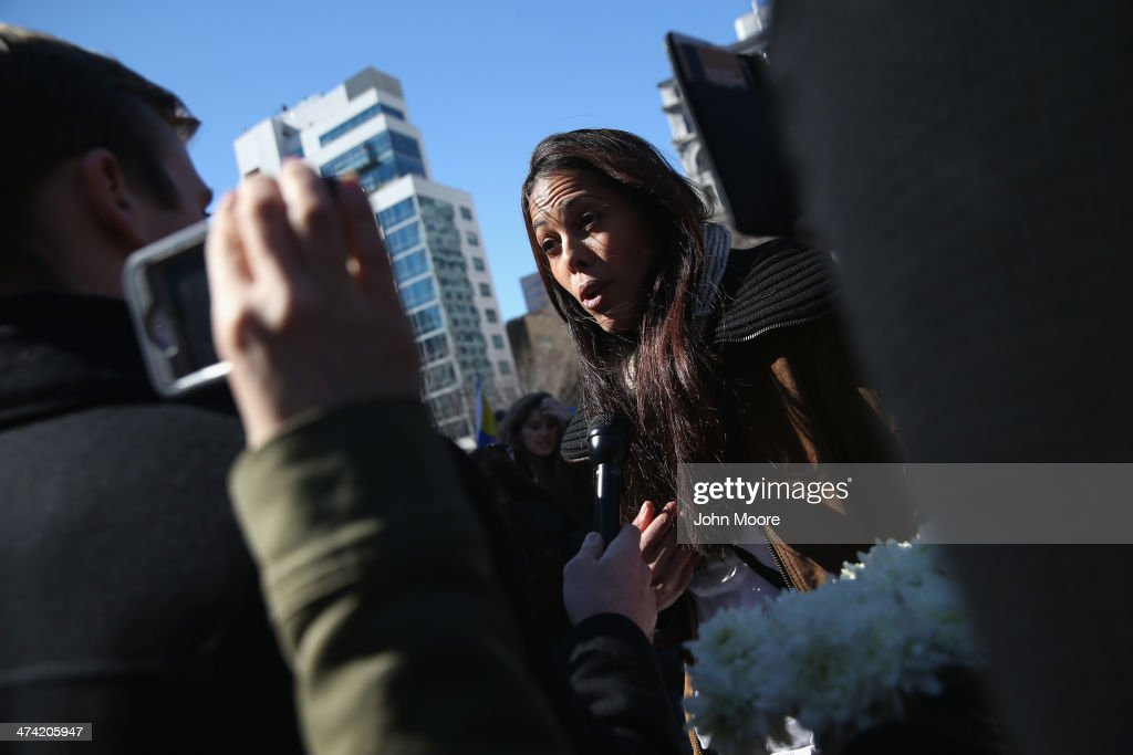 Former Miss Venezuela contestant Angelica Guvernez speaks in support of the Venezuelan opposition during a protest in Union Square on February 22, 2014 in New York City. Opposition protests and a government crackdown in Venezuela have thrown the country into turmoil in the last week.