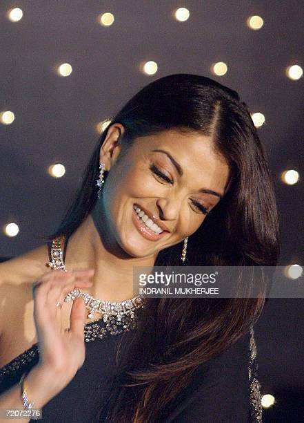 Former Miss World and Indian film actress Aishwarya Rai reacts at a press conference to launch a new Nakshatra collection of diamond jewellery from...