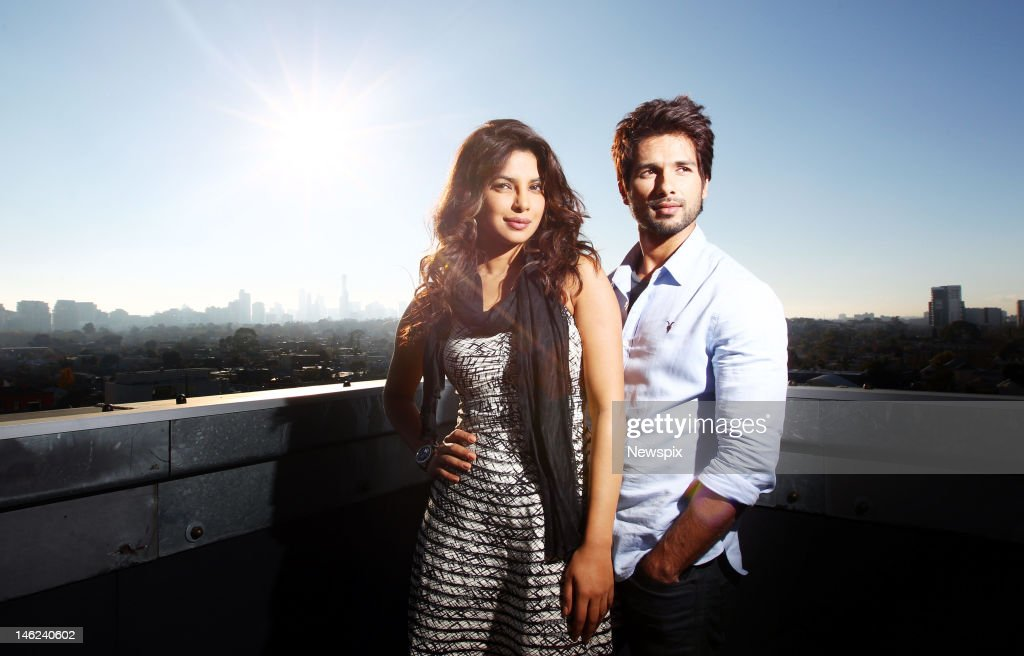 Former Miss World Priyanka Chopra and Shahid Kapoor pose during a photo shoot, on June 11, 2012 in Sydney, Australia.