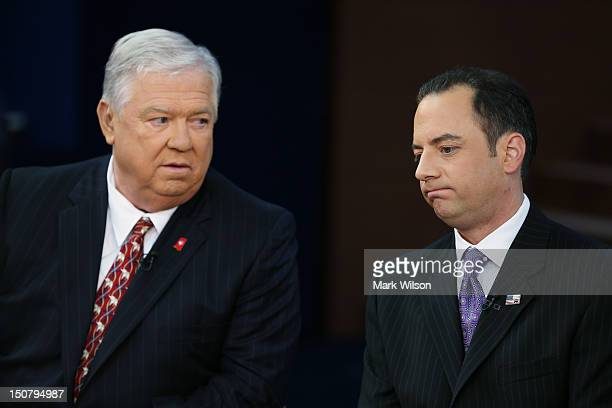 Former Mississippi Gov Haley Barbour and RNC Chairman Reince Priebus give an interview ahead of the Republican National Convention at the Tampa Bay...