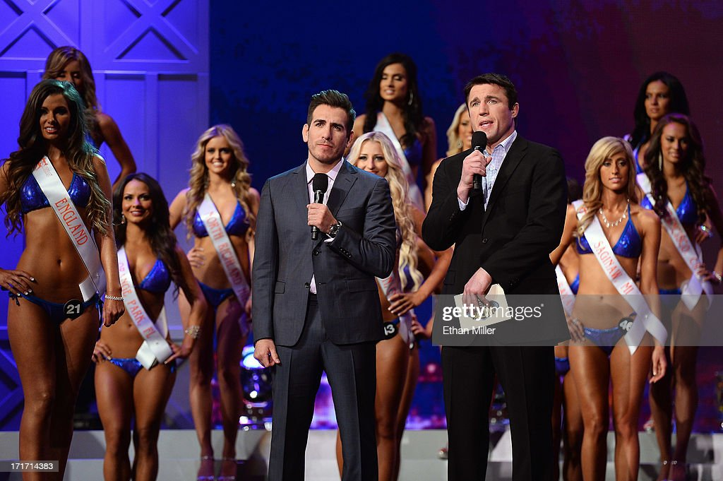 Former mixed martial artist <a gi-track='captionPersonalityLinkClicked' href=/galleries/search?phrase=Kenny+Florian&family=editorial&specificpeople=4453190 ng-click='$event.stopPropagation()'>Kenny Florian</a> (L) and mixed martial artist <a gi-track='captionPersonalityLinkClicked' href=/galleries/search?phrase=Chael+Sonnen&family=editorial&specificpeople=5434559 ng-click='$event.stopPropagation()'>Chael Sonnen</a> host the 17th annual Hooters International Swimsuit Pageant at The Joint inside the Hard Rock Hotel & Casino on June 27, 2013 in Las Vegas, Nevada.