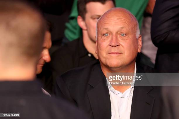 Former MLB pitcher Cal Ripken Jr attends the super welterweight boxing match between Floyd Mayweather Jr and Conor McGregor on August 26 2017 at...