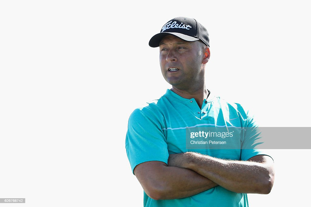 Former MLB player and amateur golfer, Derek Jeter prepares to tee off on the seventh hole during the pro-am ahead of the Hero World Challenge at Albany, The Bahamas on November 30, 2016 in Nassau, Bahamas.