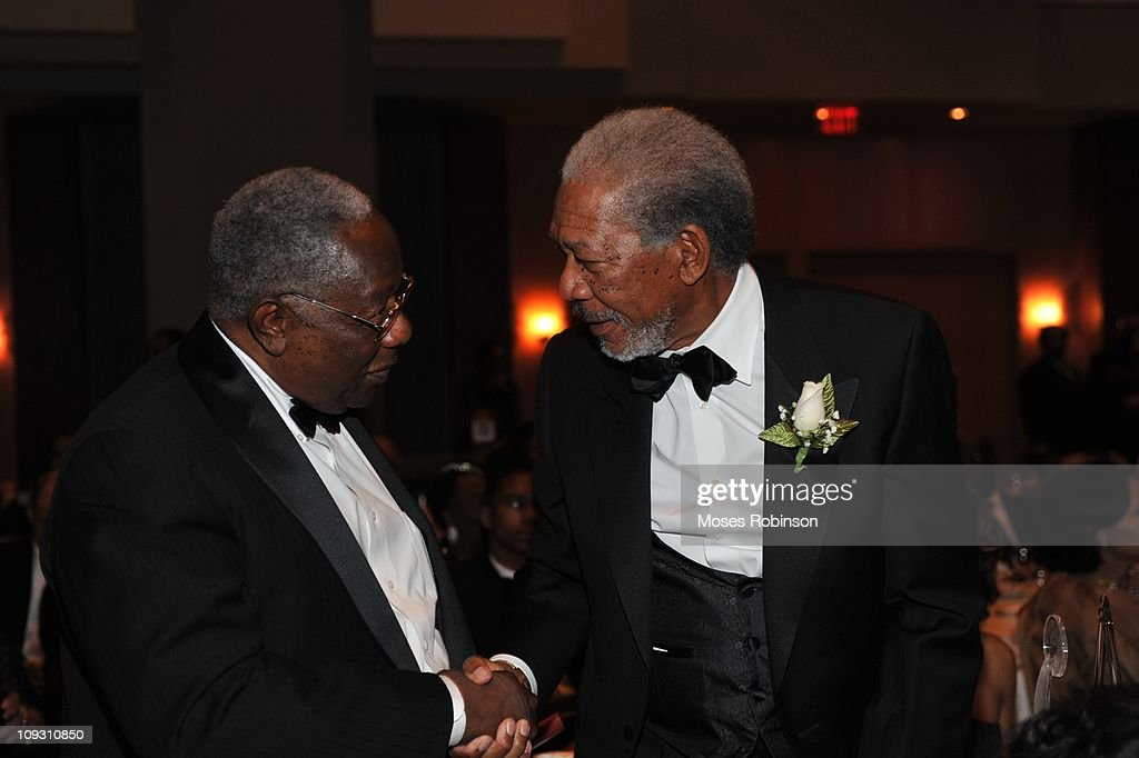 Former MLB Player and Hall of Famer <a gi-track='captionPersonalityLinkClicked' href=/galleries/search?phrase=Hank+Aaron&family=editorial&specificpeople=167027 ng-click='$event.stopPropagation()'>Hank Aaron</a> and actor <a gi-track='captionPersonalityLinkClicked' href=/galleries/search?phrase=Morgan+Freeman&family=editorial&specificpeople=169833 ng-click='$event.stopPropagation()'>Morgan Freeman</a> attend the 23rd Annual 'A Candle in the Dark' Gala at the Hyatt Regency on February 19, 2011 in Atlanta, Georgia.