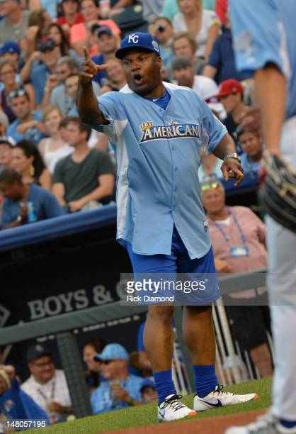 Former MLB Player Bo Jackson attends the 2012 Taco Bell AllStar Legends Celebrity Softball Game at Kauffman Stadium on July 8 2012 in Kansas City...