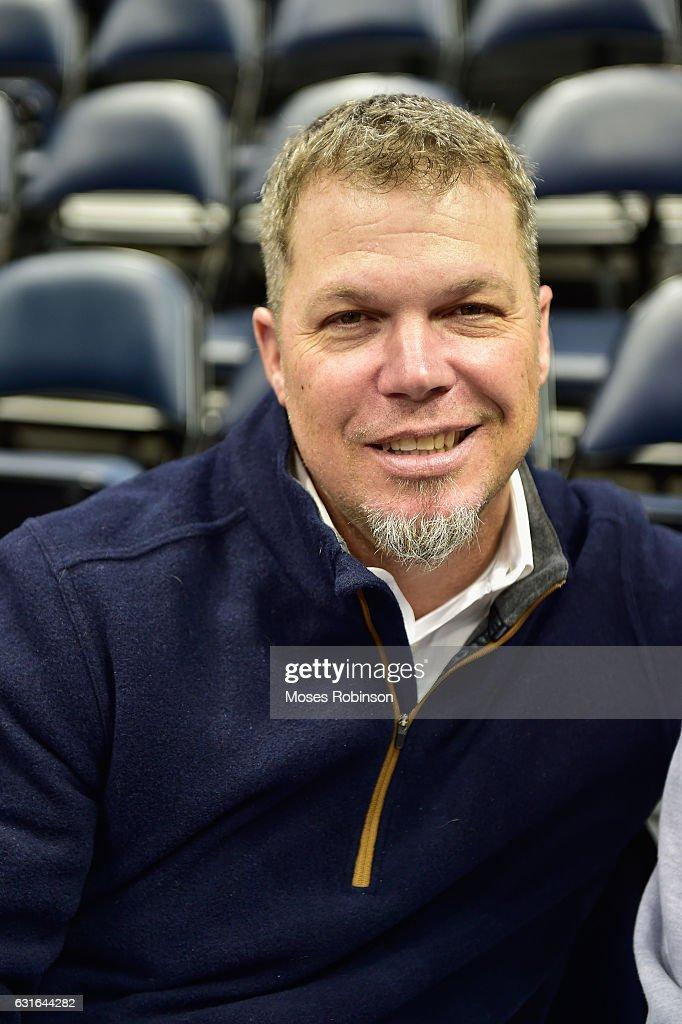 Former MLB Player Chipper Jones attend Boston Celtics vs Atlanta Hawks game at Philips Arena on January 13, 2017 in Atlanta, Georgia.