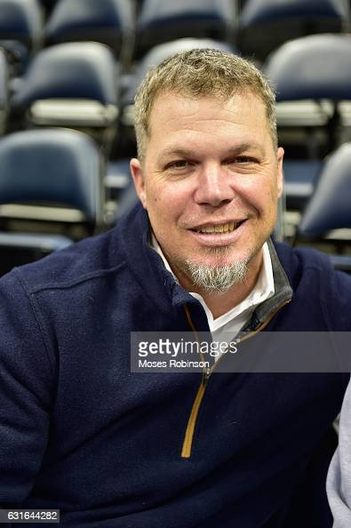 Former MLB Player Chipper Jones attend Boston Celtics vs Atlanta Hawks game at Philips Arena on January 13 2017 in Atlanta Georgia