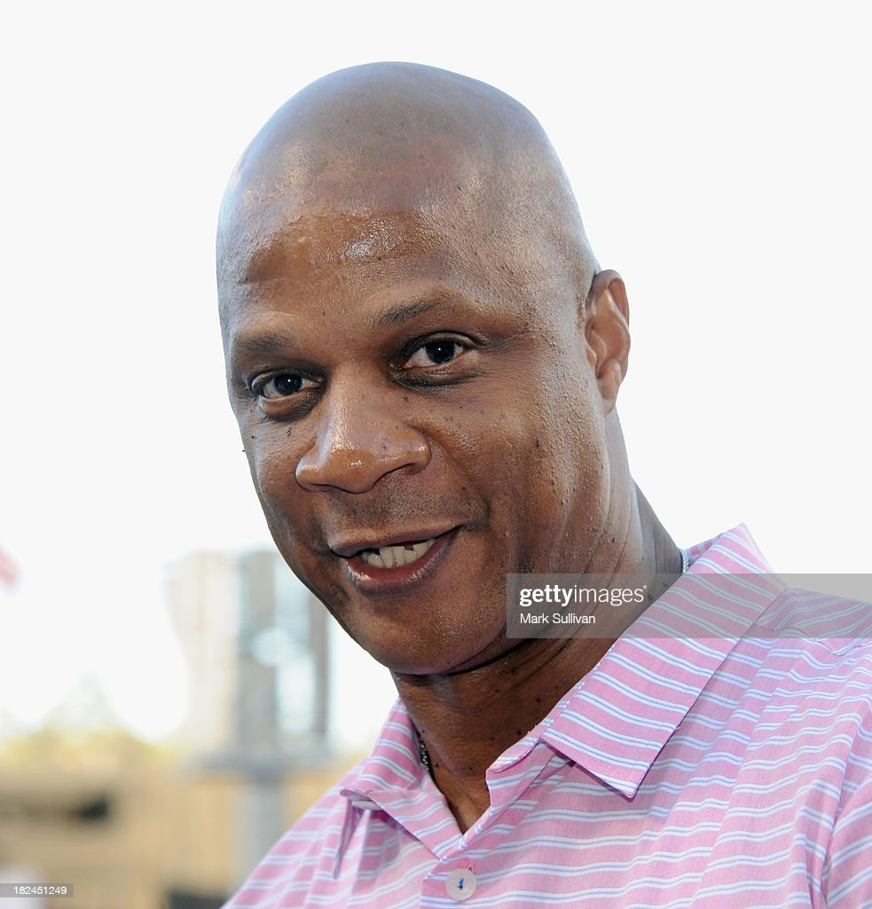 Former MLB player <a gi-track='captionPersonalityLinkClicked' href=/galleries/search?phrase=Darryl+Strawberry&family=editorial&specificpeople=206190 ng-click='$event.stopPropagation()'>Darryl Strawberry</a> before the MLB game between the Colorado Rockies and Los Angeles Dodgers at Dodger Stadium on September 28, 2013 in Los Angeles, California.