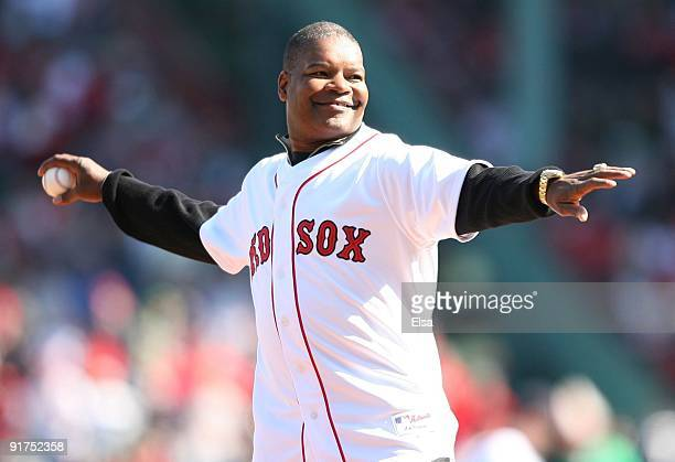 Former MLB player Dave Henderson throws out the ceremonial first pitch before Game Three of the ALDS between the Boston Red Sox and the Los Angeles...