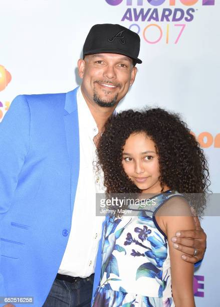 Former MLB player David Justice and actress Raquel Justice arrive at the Nickelodeon's 2017 Kids' Choice Awards at USC Galen Center on March 11 2017...