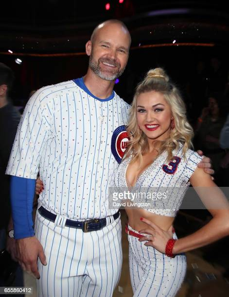 Former MLB player David Ross and dancer Lindsay Arnold attend 'Dancing with the Stars' Season 24 premiere at CBS Televison City on March 20 2017 in...