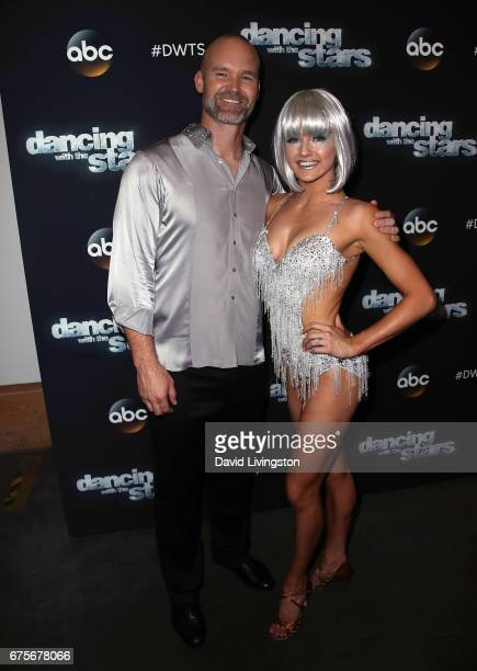 Former MLB player David Ross and dancer Lindsay Arnold attend 'Dancing with the Stars' Season 24 at CBS Televison City on May 1 2017 in Los Angeles...