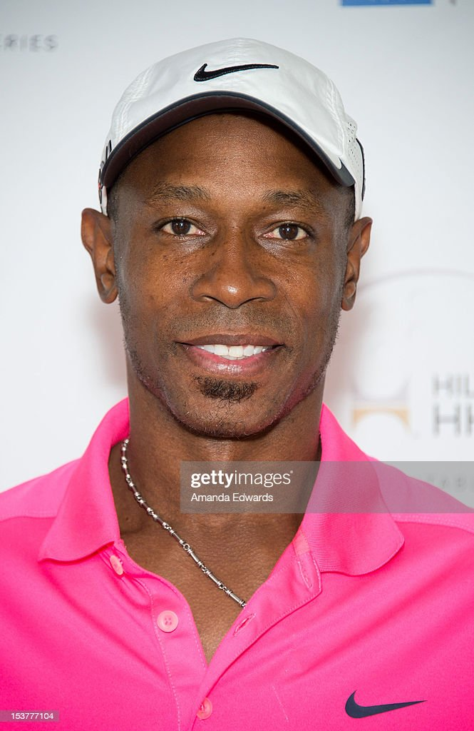 Former MLB player <a gi-track='captionPersonalityLinkClicked' href=/galleries/search?phrase=Kenny+Lofton&family=editorial&specificpeople=201979 ng-click='$event.stopPropagation()'>Kenny Lofton</a> arrives at the 6th Annual Hilton HHonors Charitable Golf Series at The Riviera Country Club on October 8, 2012 in Pacific Palisades, California.