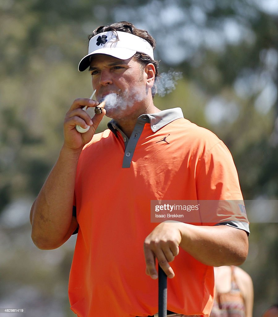 Former MLB player <a gi-track='captionPersonalityLinkClicked' href=/galleries/search?phrase=Mike+Piazza&family=editorial&specificpeople=201920 ng-click='$event.stopPropagation()'>Mike Piazza</a> prepares to hit a tee shot during Aria Resort & Casino's 13th Annual Michael Jordan Celebrity Invitational at Shadow Creek on April 5, 2014 in North Las Vegas, Nevada.