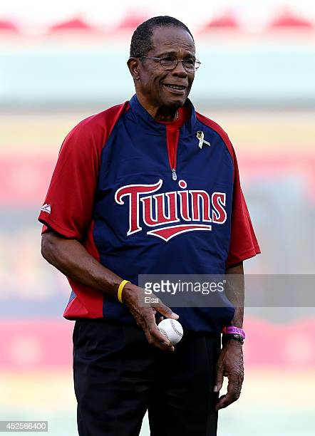 Former MLB player Rod Carew throws out the ceremonial first pitch prior to the 85th MLB AllStar Game at Target Field on July 15 2014 in Minneapolis...