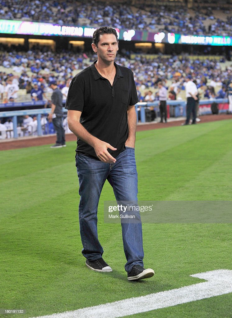 Former MLB player Shaun Green on the field before the MLB game between the Arizona Diamondbacks and Los Angeles Dodgers at Dodger Stadium on September 9, 2013 in Los Angeles, California.