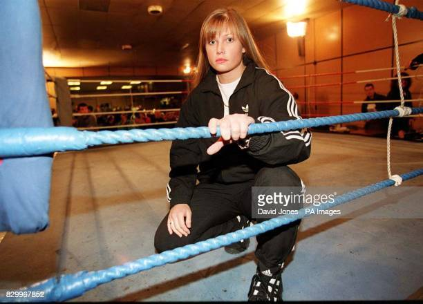 Former model Dawn North of Staffordshire before she took part in a women's boxing bout last night at the Whitland Creamery Sports and Social club...
