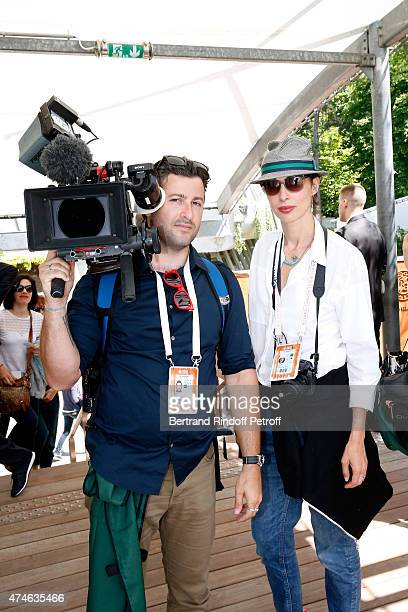 Former Model Director Geraldine Maillet and her team attend the 2015 Roland Garros French Tennis Open at Roland Garros on May 24 2015 in Paris France