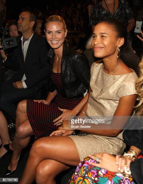 Former model Heidi Klum and Joy Bryant attends Michael Kors Spring 2009 fashion show during MercedesBenz Fashion Week at The Tent Bryant Park on...