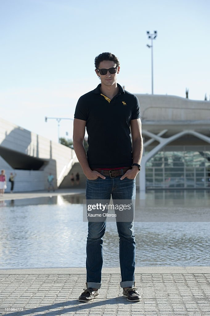 Former model Jonathan Label wears polo shirt, jeans and shoes from Hollister during Valencia Fashion Week 2012 at Ciudad de las Artes y Las Ciencias on September 14, 2012 in Valencia, Spain.