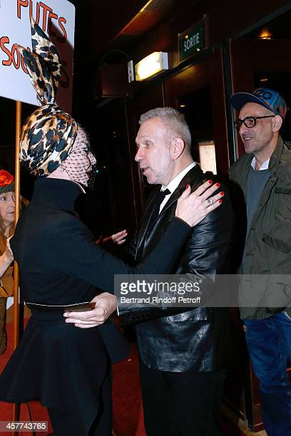 Former Model Lola Fashion Designer JeanPaul Gaultier and his Companion Tanel attend the 'Mugler Follies' Paris new variety show premiere on December...