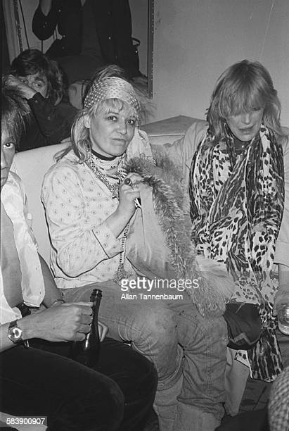 Former models actress Anita Pallenberg and musician Marianne Faithfull at the Mudd Club New York New York February 10 1980