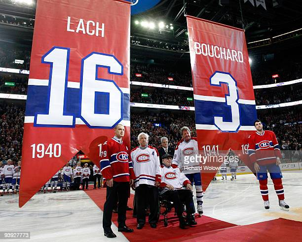 Former Montreal Canadiens Elmer Lach and Emile Bouchard are honored by having their numbers retired during the Centennial Celebration ceremonies...
