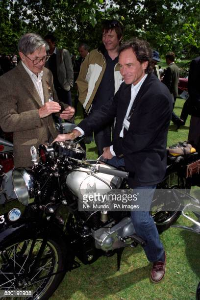 Former motorcycle champion Barry Sheene astride a 1931 Matchless Silver Hawk during the Louis Vuitton Classic at the Hurlingham Club in London Mr...