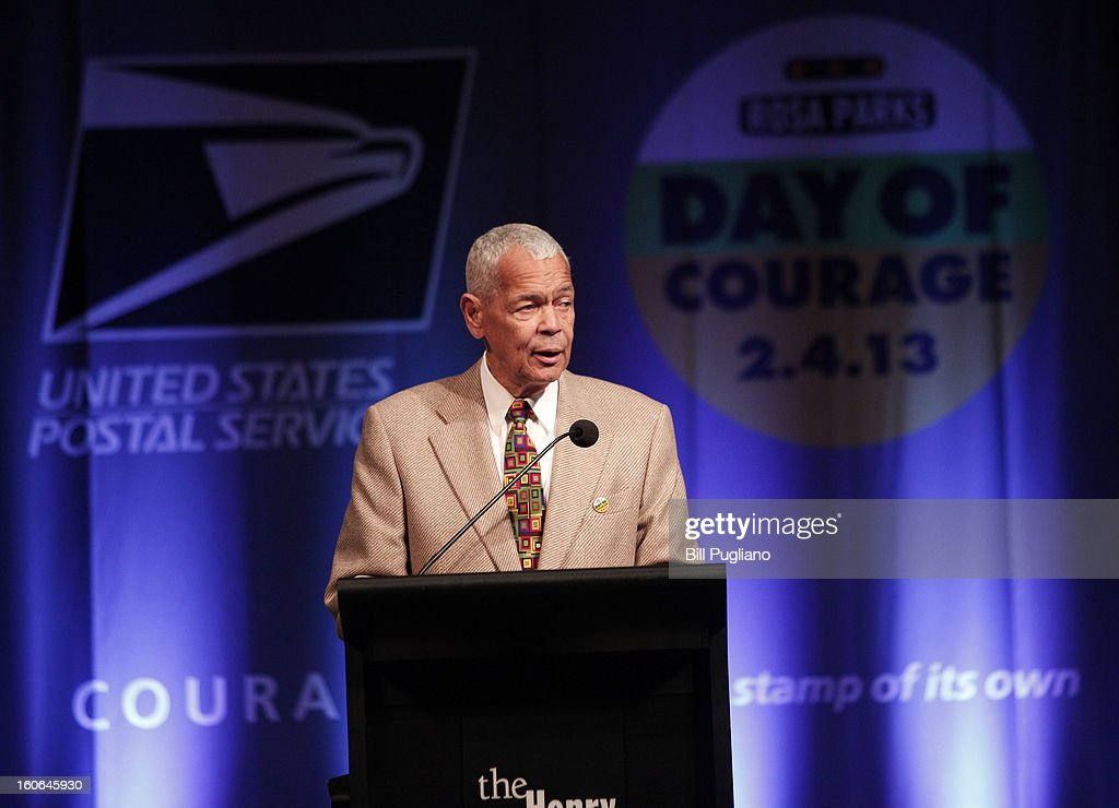 Former NAACP Chairman <a gi-track='captionPersonalityLinkClicked' href=/galleries/search?phrase=Julian+Bond&family=editorial&specificpeople=221657 ng-click='$event.stopPropagation()'>Julian Bond</a> speaks during the unveiling of the new Rosa Parks stamp, a commemorative stamp issued by the U.S. Postal Service honoring civil rights icon, February 4, 2013 at The Henry Ford in Dearborn, Michigan. The stamp went on sale February 4, 2013, what would have been Rosa Park's 100th birthday.