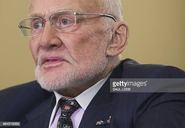 Former NASA Astronaut and Apollo 11 pilot Buzz Aldrin testifies on space exploration during the US Senate Commerce Science and Transportation's...