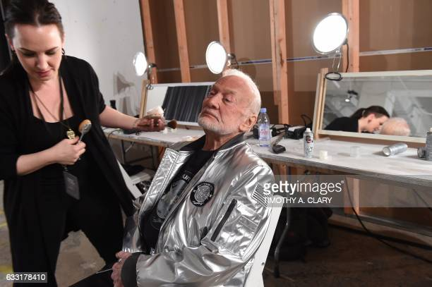 Former NASA astronaut Buzz Aldrin lunar module pilot on Apollo 11 and second man to walk on the Moon has makeup applied backstage during the Nick...