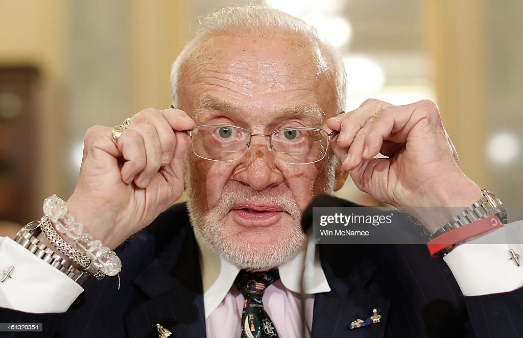 Former NASA astronaut <a gi-track='captionPersonalityLinkClicked' href=/galleries/search?phrase=Buzz+Aldrin&family=editorial&specificpeople=90480 ng-click='$event.stopPropagation()'>Buzz Aldrin</a> prepares to testify before the Senate Space, Science, and Competitiveness Subcommittee on Capitol Hill February 24, 2015 in Washington, DC. The committee heard testimony on the topic of 'U.S. Human Exploration Goals and Commercial Space Competitiveness.'