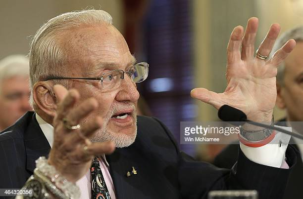 Former NASA astronaut Buzz Aldrin testifies before the Senate Space Science and Competitiveness Subcommittee on Capitol Hill February 24 2015 in...