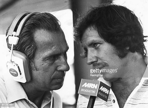 Former NASCAR Cup Series driving champion turned broadcaster Ned Jarrett interviews Dale Earnhardt circa 1979