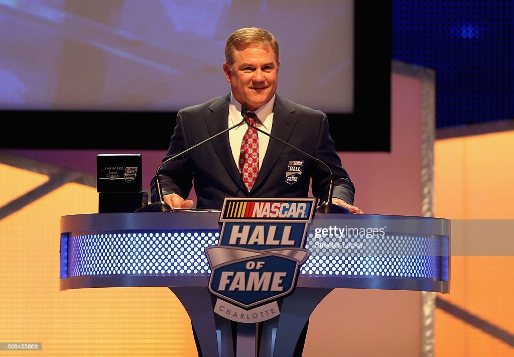 Former NASCAR driver Terry Labonte speaks as he is inducted into the NASCAR Hall of Fame during the NASCAR Hall of Fame Induction Ceremony on January...