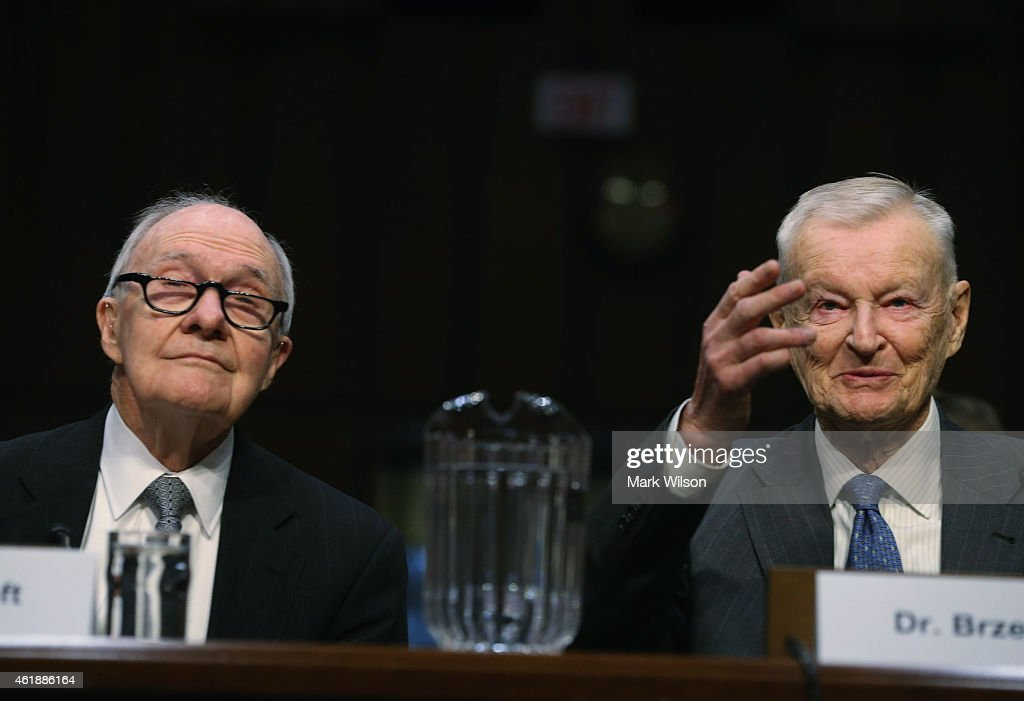 Former National Security Advisor <a gi-track='captionPersonalityLinkClicked' href=/galleries/search?phrase=Brent+Scowcroft&family=editorial&specificpeople=202236 ng-click='$event.stopPropagation()'>Brent Scowcroft</a> (L) and Zbigniew Brzezinski (R) testify during a Senate Armed Services Committee hearing on Capitol Hill, January 21, 2015 in Washington, DC. The committee was hearing testimony from former cabinet officials regarding global challenges and United States national security strategy.