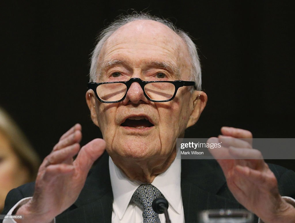Former National Security Advisor <a gi-track='captionPersonalityLinkClicked' href=/galleries/search?phrase=Brent+Scowcroft&family=editorial&specificpeople=202236 ng-click='$event.stopPropagation()'>Brent Scowcroft</a> testifies during a Senate Armed Services Committee hearing on Capitol Hill, January 21, 2015 in Washington, DC. The committee heard testimony from former cabinet officials regarding global challenges and United States national security strategy.