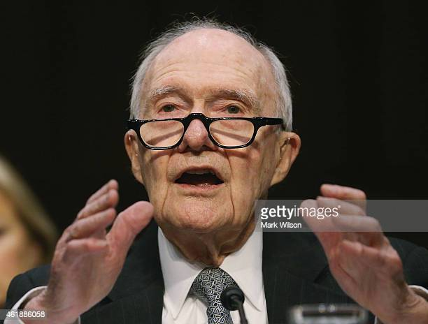 Former National Security Advisor Brent Scowcroft testifies during a Senate Armed Services Committee hearing on Capitol Hill January 21 2015 in...