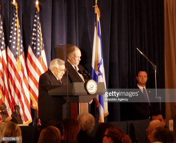 Former National Security Advisor of the United States Henry Kissenger delivers a speech during a meeting of World Jewish Congress representing jewish...