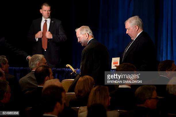 CORRECTION Former National Security Advisor Robert Carl McFarlane and Russian Ambassador to the US Sergey Kislyak arrive with others to listen to...