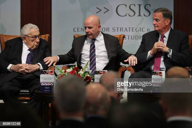 Former National Security Advisors Henry Kissinger and James Jones Jr participate in a discussion with current White House National Security Advisor...