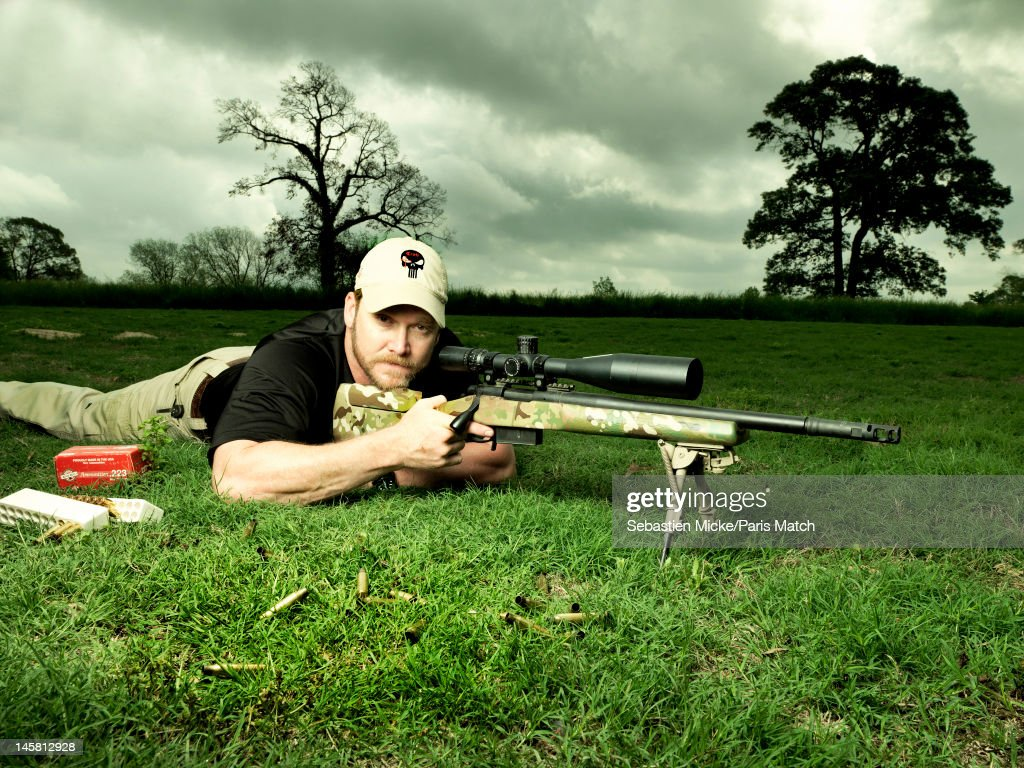 Former Navy SEAL and expert sniper, <a gi-track='captionPersonalityLinkClicked' href=/galleries/search?phrase=Chris+Kyle&family=editorial&specificpeople=2349756 ng-click='$event.stopPropagation()'>Chris Kyle</a>, is photographed on his ranch for Paris Match magazine on April 2, 2012 in Dallas, Texas. Published image