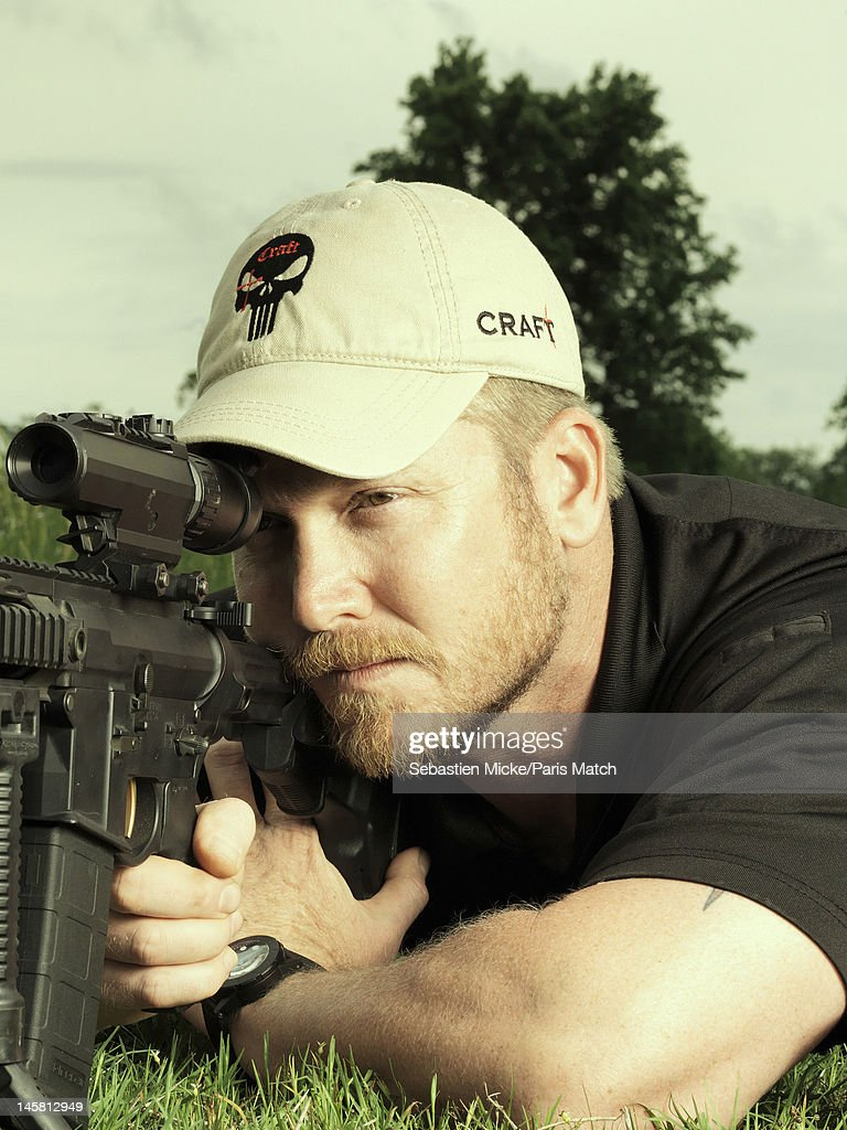 Former Navy SEAL and expert sniper, <a gi-track='captionPersonalityLinkClicked' href=/galleries/search?phrase=Chris+Kyle&family=editorial&specificpeople=2349756 ng-click='$event.stopPropagation()'>Chris Kyle</a>, is photographed on his ranch for Paris Match magazine on April 2, 2012 in Dallas, Texas.