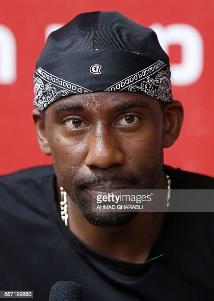Former NBA basketball player Amar'e Stoudemire speaks to the press on August 8 2016 in Jerusalem during a 'Basketball Peace' camp held by the player...