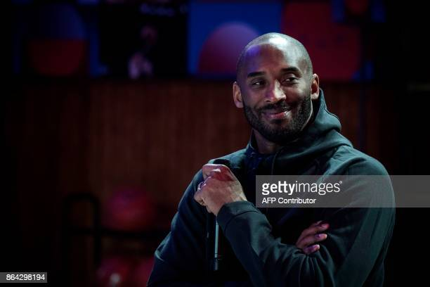 Former NBA basketball player Kobe Bryant attends a promotional event organized by the sports brand Nike for the inauguration of the infrastructure...