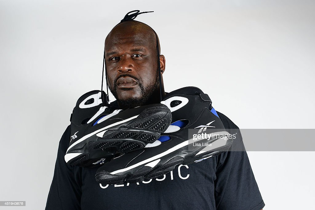 Former NBA basketball player <a gi-track='captionPersonalityLinkClicked' href=/galleries/search?phrase=Shaquille+O%27Neal&family=editorial&specificpeople=201463 ng-click='$event.stopPropagation()'>Shaquille O'Neal</a> poses with Reebok sneakers at the Reebok Classic Breakout at Philadelphia University on July 9, 2014 in Philadelphia, Pennsylvania.