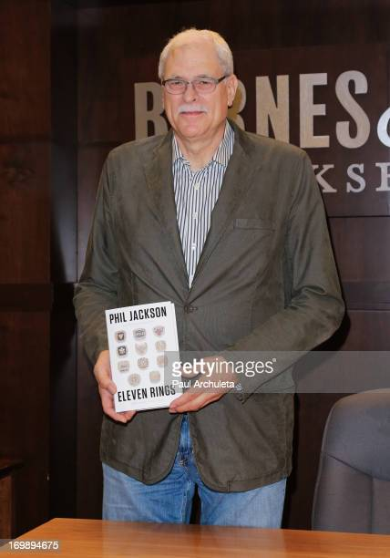 Former NBA Coach Phil Jackson signs copies of his new book 'Eleven Rings' at the Barnes Noble bookstore at The Grove on June 3 2013 in Los Angeles...